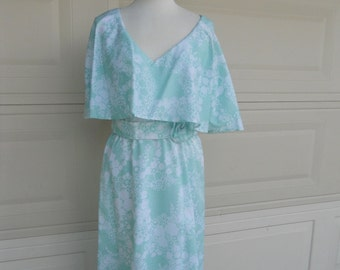 SALE Vintage 1960s Cape Dress . Mint Green Floral . by Helga . DEADSTOCK New without Tag