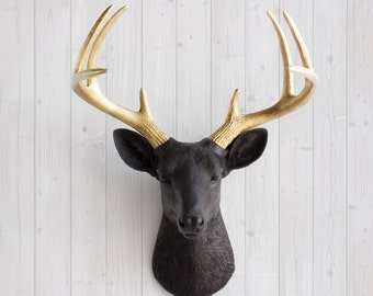 Faux Deer Head in Black + Gold Antlers - Wall Charmers Faux Taxidermy - Deer Head Wall Mount Fauxidermy Animal Head Mount Taxidermied Chic