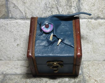 Desk Organizer Trinket Dice Mimic Box Small Storage Treasure Chest Stash Teal Leather Gamer MTG Card Box 260