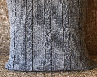 Cable knit lambswool Pillow/Cushion cover/home accessories/indoor cushions/garden cushions/pool cushions/gray/black/white