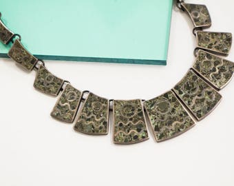 Vintage Los Ballesteros Sterling Silver Taxco Mexico Necklace with Green and Black Malachite Mosaic Inlay