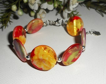 Bracelet red yellow floral Pearl pucks