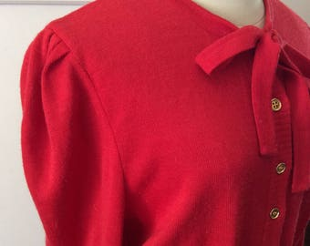 Vintage 1970s does 1930s red knit sweater dress