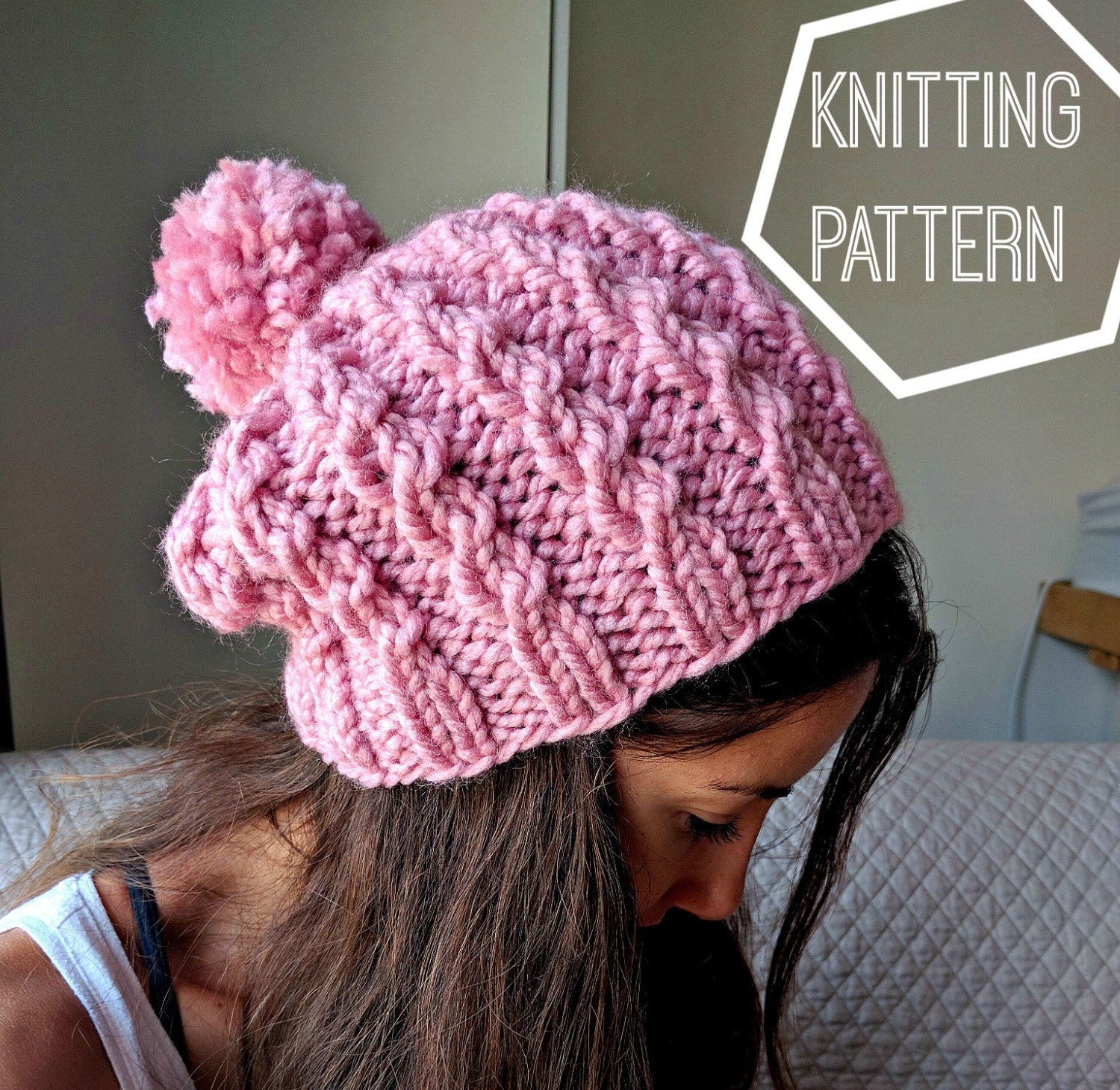 Easy Cable Knit Hat Pattern, Cable Knit Beanie Pattern, Simple Cable ...