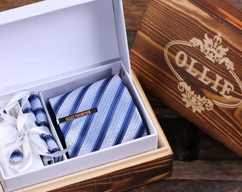 Personalized Tie Clip, Tie and Wood Box Boy Friend Gift, Dad, Christmas, Groomsmen Men's Gift (025223)