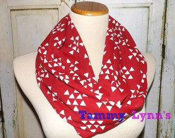 Red and White Triangle Print Infinity Scarf Jersey Knit Womens Accessories Louiville Cardinals NC State