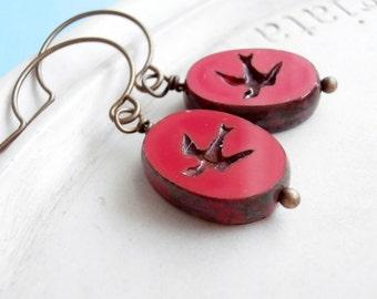 Beaded Earrings - Sparrow in Flight - Pressed Czech Glass Earrings - Red