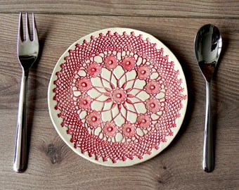 Rustic Ceramic Plate, Red Mandala Lace Dessert Plate, Unique Serving Plate, Mandala Tableware, Boho Kitchen Decor Ceramic Dish, Lace Pottery