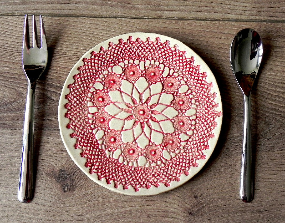 🔎zoom & Rustic Ceramic Plate Red Mandala Lace Dessert Plate Unique