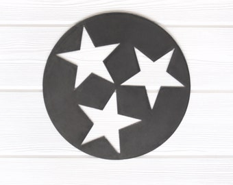 Tennessee Tri Star Solid Design Metal Art