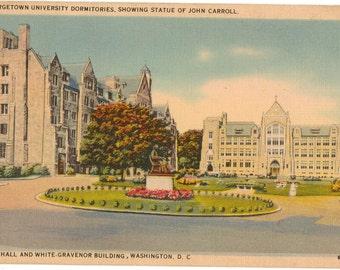 Linen Postcard, Georgetown University, Washington, DC, Copley Hall, White Gravenor