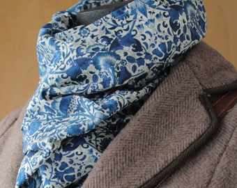 Liberty Of London William Morris Lodden Lined Scarf Blue