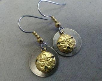 Mixed Metal Sand Dollar Earrings