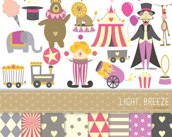 Circus Big Clipart - Vector & Digital Scrapbooking Papers Set - Instant Download - Personal and Commercial Use