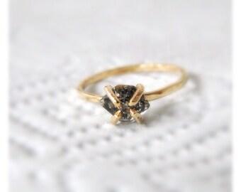 Diamond Engagement Ring, Black Diamond Engagement Ring, Black Diamond Ring, Herkimer Ring, Diamond Engagement Ring, Diamond Wedding Bands
