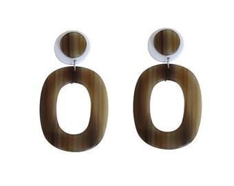Resin Earrings, Olive Green and White Earrings