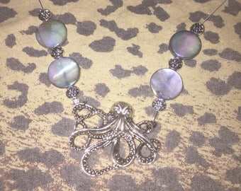 Octopus and abalone necklace
