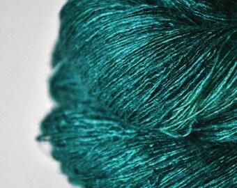 Malachite powder OOAK - Tussah Silk Lace Yarn - Hand Dyed Yarn - handgefärbte Wolle - DyeForYarn