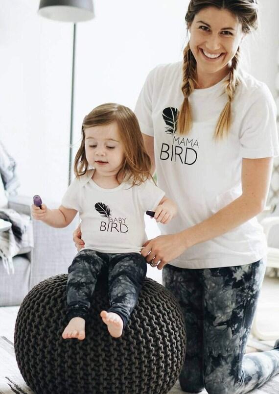 SET, Mama Bird + Baby Bird Set, Black Ink, Mommy and Me T, Mama Bird, Baby Bird, Mommy T, Mama Bird Tee, Mama Bird Set, Mama Bird