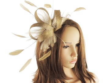 Four Loops Metallic Gold Fascinator Hat for Weddings, Races, and Special Events With Headband