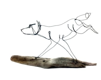 Running Wolf Wire Sculpture, Wolf Folk Art, Timber Wolf Sculpture, 600536045