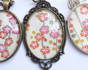 Cherry Blossom Oval Pendant Necklace  // Japanese Flower Pendant // Asian Necklace // Key Chain// Necklace // Gifts for Her