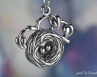 Sterling Silver Bird Nest Charm with Eggs for Birdwatchers Solid .925