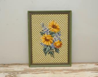 Sunflower Needlepoint Framed