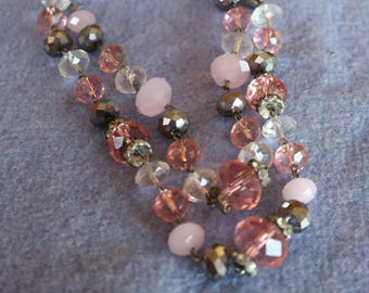 Retired Crown Trifari/Double Strand/ Pink/Silver/Clear Crystal Necklace