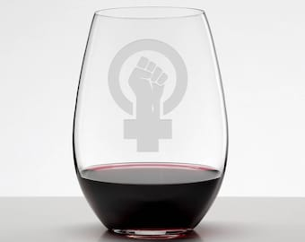 Women's Rights, Human's Rights Women's Empowerment Etched Stemless Wineglass, Women's March