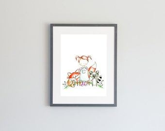 Hand Painted Watercolor Archival Giclée Print - Woodland Animals and Young Girl Painting