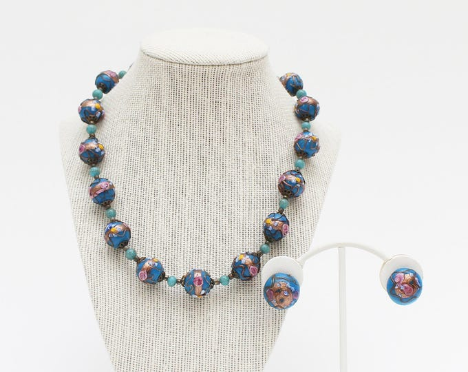 Blue Murano Glass Wedding Cake Beads - Vintage 1930s Italian Glass Bead Necklace and Earrings Set
