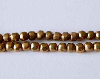 6mm Brass Faceted Beads