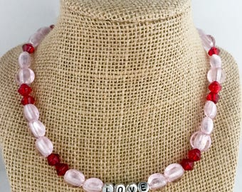 Pink beaded necklace, pink necklace, red necklace, red beaded necklace, love necklace, necklace pink, necklace red, beaded necklace