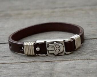 Handmade Brown Leather Hamsa Bracelet