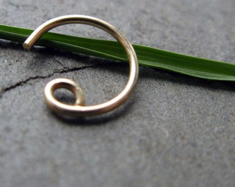 20g catchless nose ring-- solid 14k gold, gold fill or titanium-- primitive series-- handmade by thebeadedily