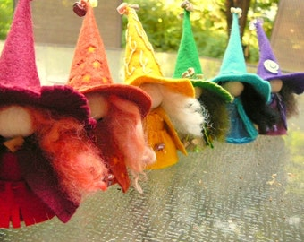 A Rainbow of Witches Set I, Wool Felt Witch, Peg Doll Witch, Waldorf Inspired, Art Doll