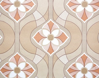 Retro Vintage Wallpaper by the Yard 70s Geometric Vintage Wallpaper - Retro 1970s Orange and Tan Brown Geometric Floral