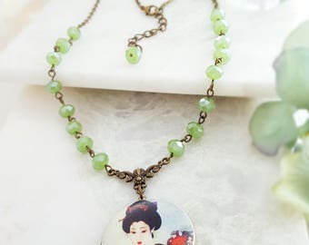 Locket Necklace - Jade Neckace For Women - Picture Locket Jewelry - Green Crystal Necklace - Bronze Locket - Rosary Necklace N1200