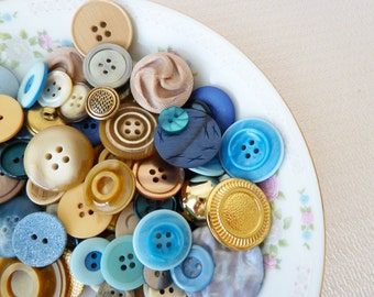 Vintage Buttons Mix in Gold Pearls Blues Grays Browns, A Day at the Beach