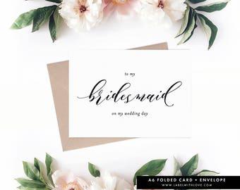 Bridesmaid Card, Bridesmaid Gift Idea, Bridesmaid Thank You Card, Wedding Card, Bridal Party Gift, Wedding Day Card, AW1