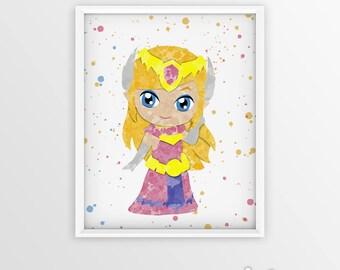 Legend of Zelda Princess Zelda Toon Watercolor Art Poster Print -Wall Decor -Artwork- Watercolor-Home Decor- Kids Room Decor - Nursery Decor