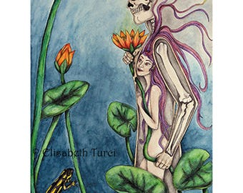 Art print ACEO signed  _ à L'Intérieur _ replica of an original painting dark fantasy illustration esoteric water lily surreal skull alchemy