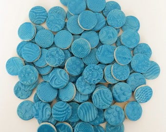 50 Turquoise Ceramic Mosaic CIRCLE 1 inch Tiles - High Fired -Textured