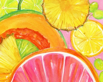 Citrus Watercolor Painting Cantaloupe, Grapefruit, Lemon, Orange, Limes, Grapes, Pineapple original, Tropical Fruit   8 x 10 kitchen art