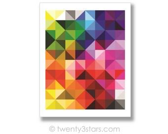 Arc en ciel Triangles affiche, Art mural arc en ciel géométrique, Art Triangle arc en ciel, Rainbow Nursery Art mural, arc en ciel de couleurs Art, toile de l'arc en ciel