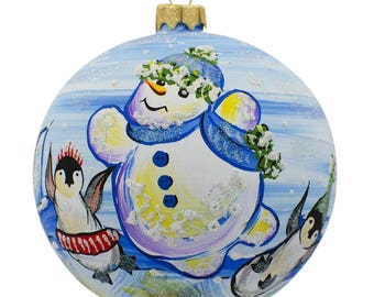"4"" Snowman with Penguin Glass Ball Christmas Ornament"