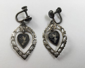 Vintage Heart  Siam Sterling Dangle Earrings with Screwback
