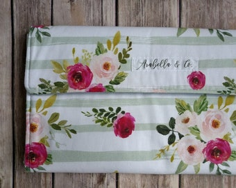 Diaper Clutch- Vintage Floral, Diaper Clutch with Changing Pad, Diaper Holder, Diaper Clutch Pockets, Flowers, Stripes, Vintage, Baby Girl