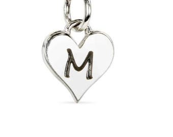 Charm Script M Alphabet Heart Sterling Silver 12x8mm